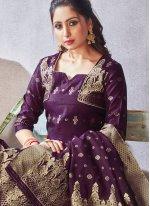 Woven Purple Art Banarasi Silk Pant Style Suit