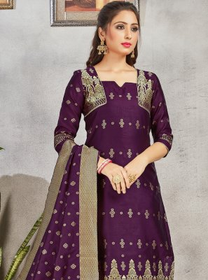 Woven Purple Art Banarasi Silk Pant Style Suit