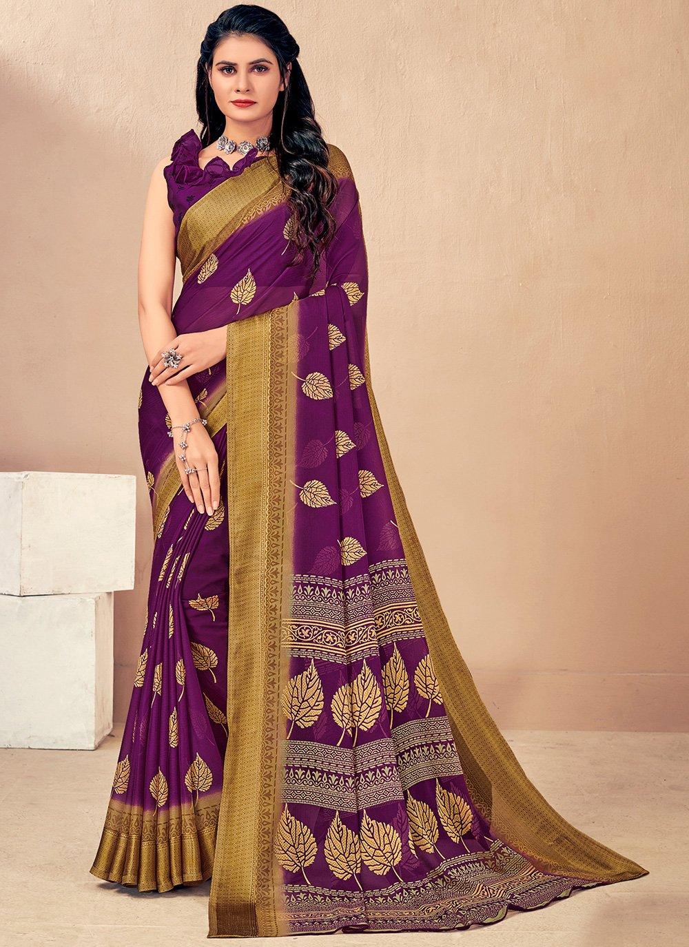 Woven Purple Classic Saree