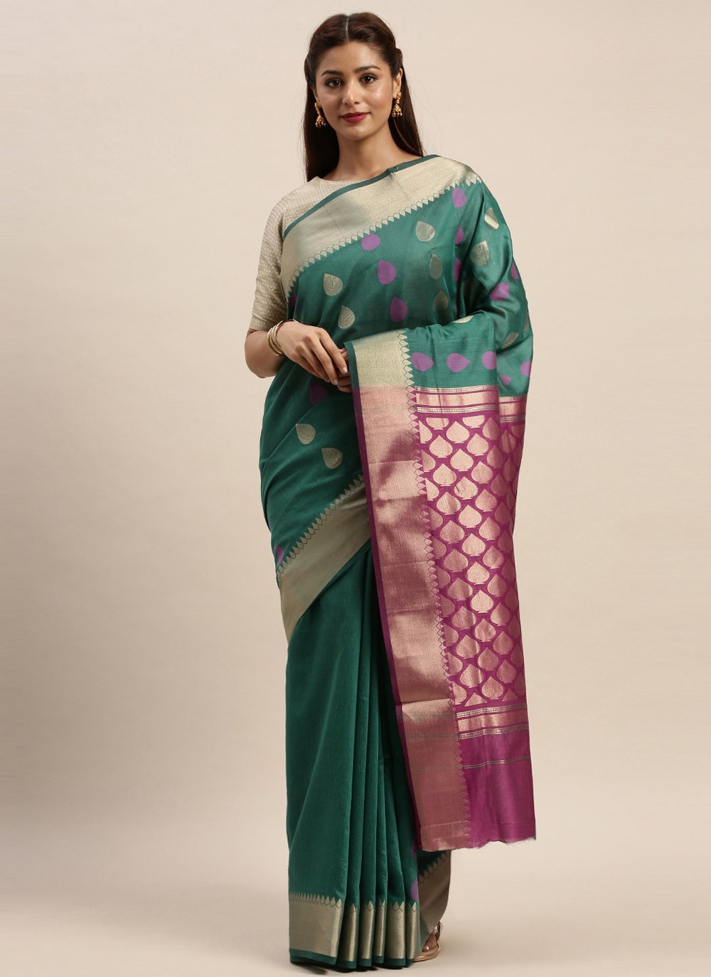 Woven Rama Handloom Cotton Traditional Saree