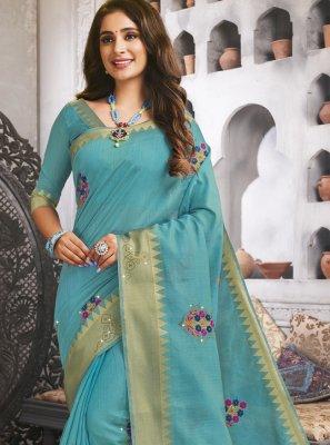 Woven Raw Silk Turquoise Traditional Designer Saree