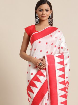 Woven Red and White Bhagalpuri Silk Traditional Saree