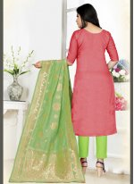 Woven Red Art Silk Bollywood Salwar Kameez