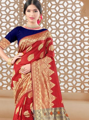 Woven Red Art Silk Traditional Saree