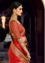 Woven Red Traditional Saree