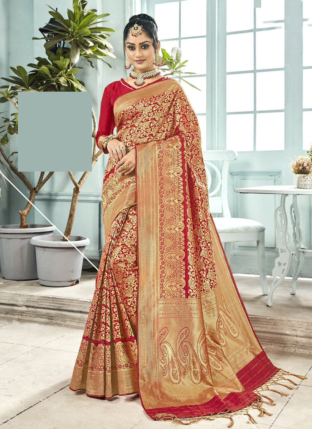 Woven Red Trendy Saree