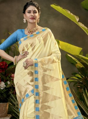 Woven Silk Cream Traditional Saree
