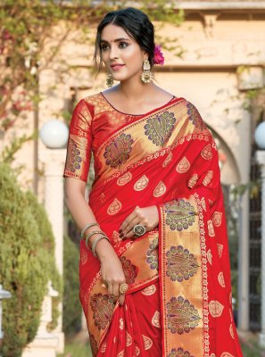 Woven Silk Designer Traditional Saree in Red