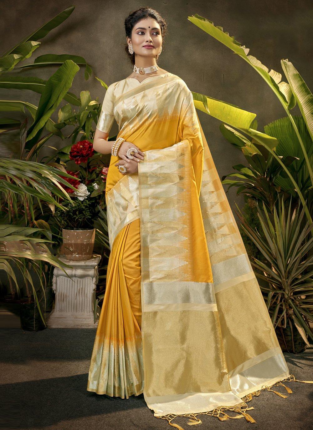 Woven Silk Designer Traditional Saree in Yellow