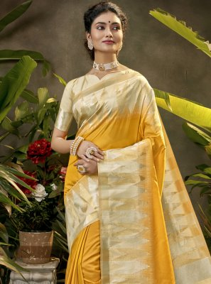 Woven Silk Designer Traditional Saree in Yellow
