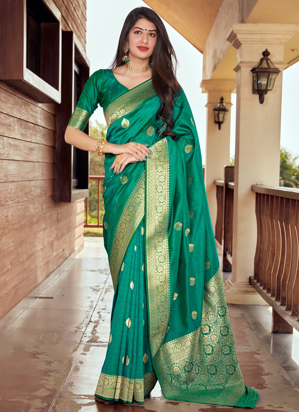 Woven Silk Green Designer Traditional Saree