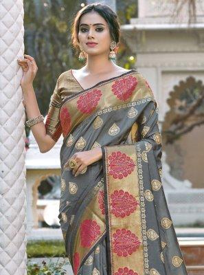 Woven Silk Grey Designer Traditional Saree