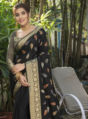 Woven Silk Traditional Saree in Black