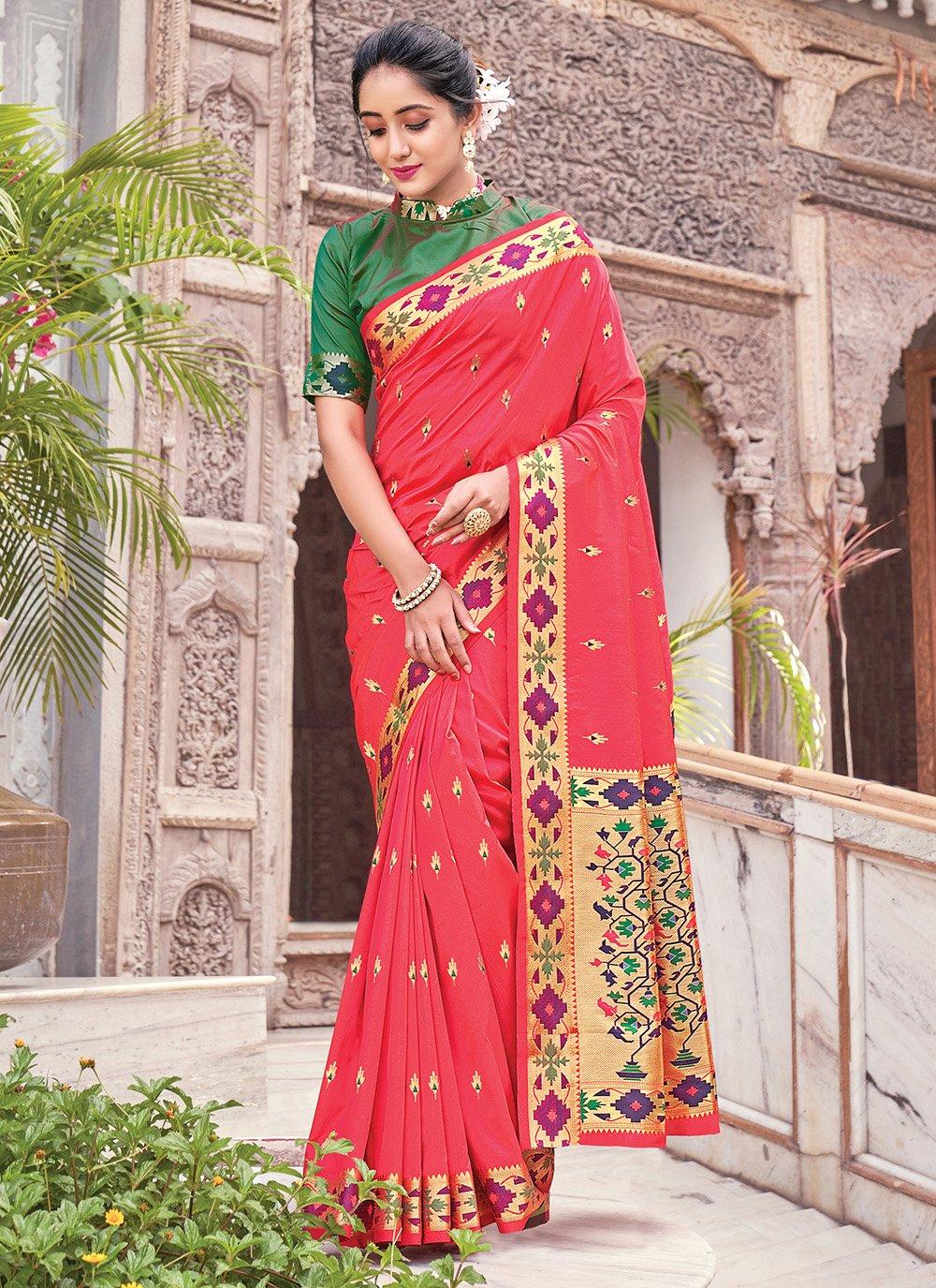 Woven Silk Traditional Saree in Fuchsia