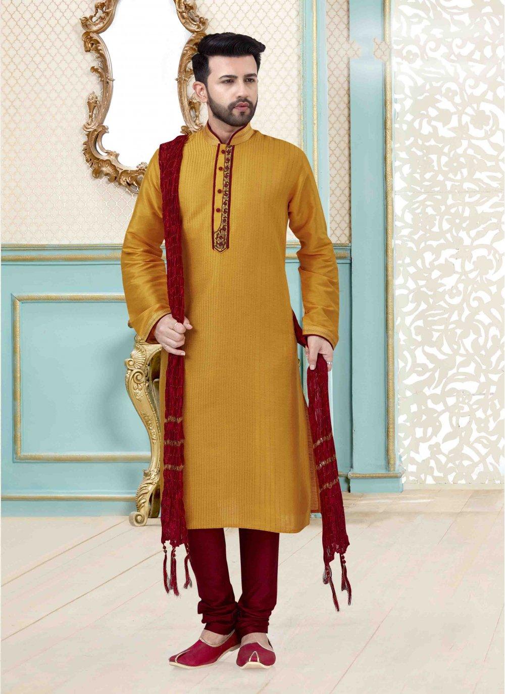 Yellow Art Dupion Silk Mehndi Kurta Pyjama