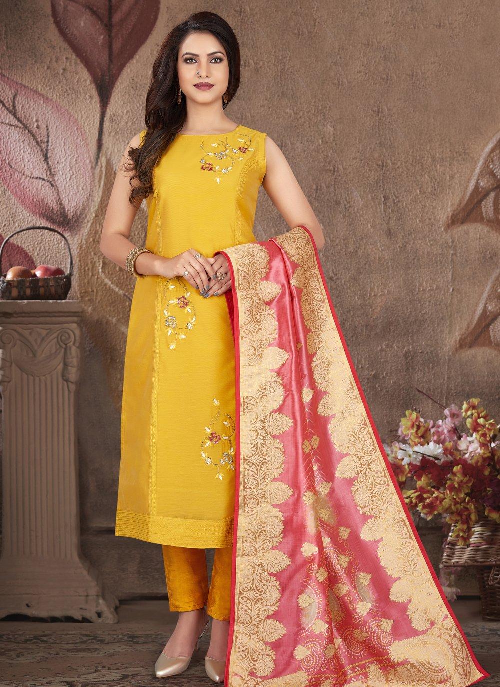 Yellow Art Silk Ceremonial Readymade Suit