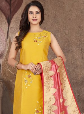 Yellow Art Silk Ceremonial Readymade Suit