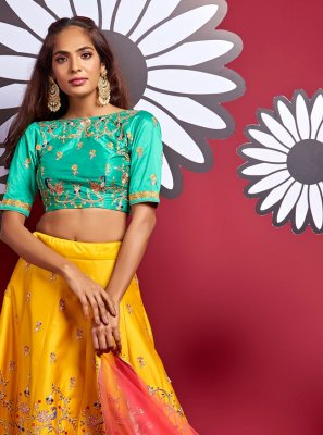 Yellow Art Silk Engagement A Line Lehenga Choli