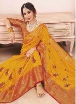 Yellow Art Silk Festival Designer Traditional Saree