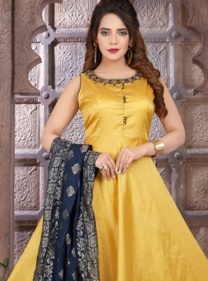 Yellow Art Silk Floor Length Anarkali Suit