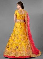 Yellow Art Silk Trendy Lehenga Choli