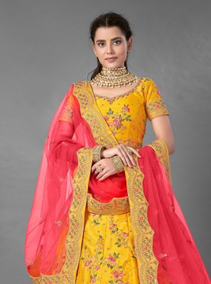 Yellow Art Silk Trendy Lehenga Choli