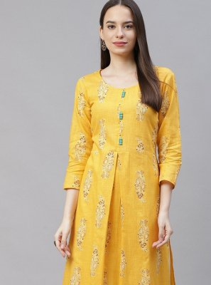 Yellow Casual Designer Kurti