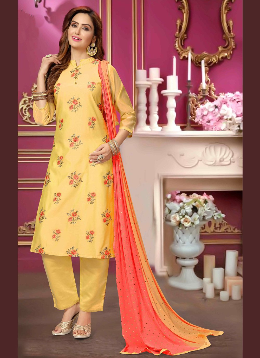 Yellow Ceremonial Bollywood Salwar Kameez