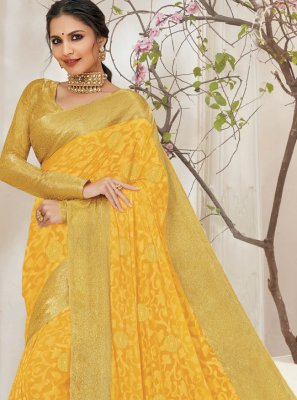 Yellow Ceremonial Bollywood Saree