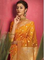 Yellow Ceremonial Jacquard Silk Designer Traditional Saree