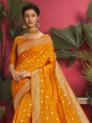Yellow Ceremonial Jacquard Silk Designer Traditional Saree