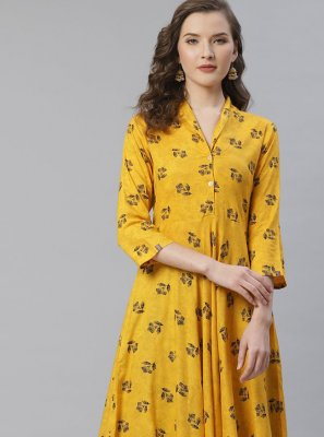 Yellow Ceremonial Viscose Party Wear Kurti
