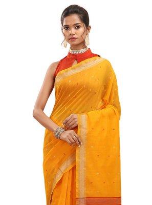 Yellow Chanderi Classic Designer Saree