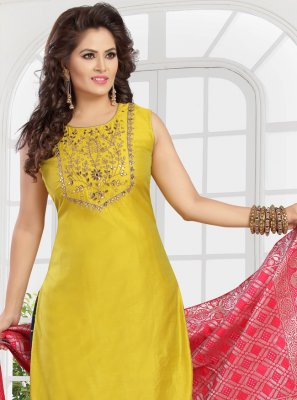 Yellow Chanderi Readymade Suit