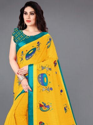 Yellow Color Printed Saree