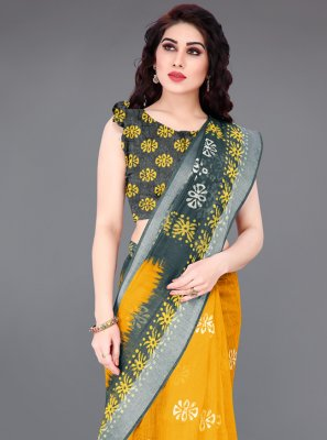 Yellow Cotton Abstract Print Printed Saree