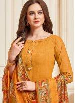 Yellow Cotton Designer Patiala Suit