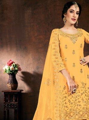 Yellow Cotton Festival Designer Patiala Suit