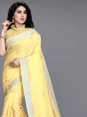 Yellow Cotton Foil Print Printed Saree