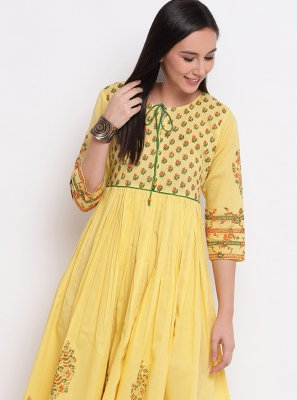 Yellow Cotton Party Wear Kurti