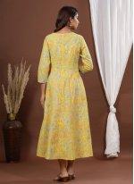 Yellow Cotton Party Wear Kurti