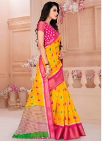 Yellow Cotton Printed Printed Saree
