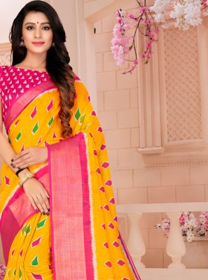 Yellow Cotton Printed Printed Saree