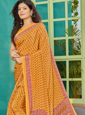 Yellow Crepe Silk Trendy Saree