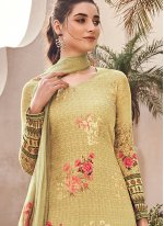 Yellow Digital Print Silk Designer Pakistani Suit