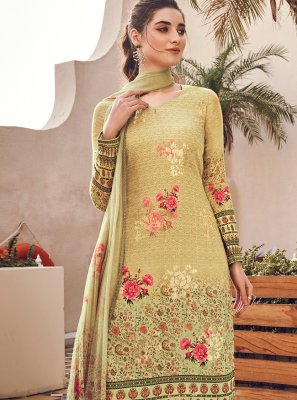 Yellow Digital Print Silk Designer Pakistani Suit