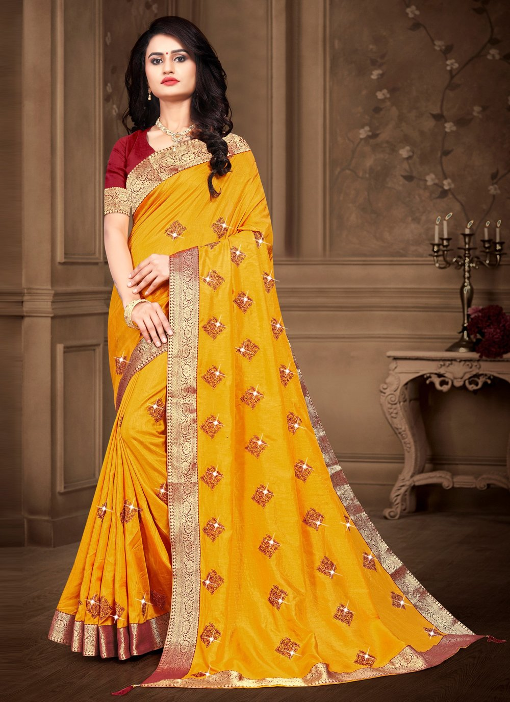 Yellow Embroidered Bollywood Saree