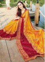Yellow Embroidered Ceremonial Designer Saree
