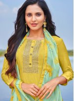Yellow Embroidered Cotton Churidar Suit