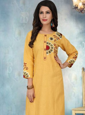Yellow Embroidered Cotton Silk Party Wear Kurti